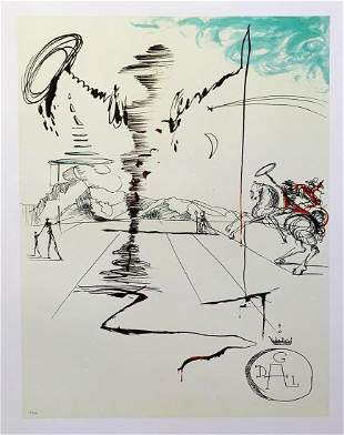 "Salvador Dali ""Chevalier"" Fax. signed/Numbered lithogra"