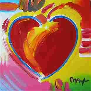 Peter Max, Heart, Original mixed media on paper