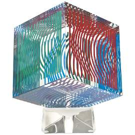 Victor Vasarely, Multi Wave Cube, Acrylic Glass