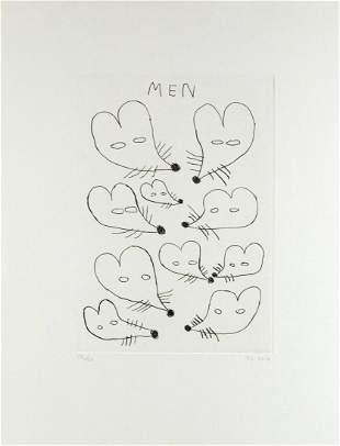 """David Shrigley """"Men"""" Etching Signed Ed. 17/20 Framed"""