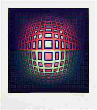 Victor Vasarely - Pink Composition, Signed & numbered
