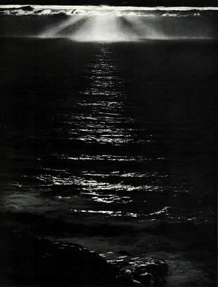 ANSEL ADAMS, 1950s Sunset Pacific Ocean Landscape