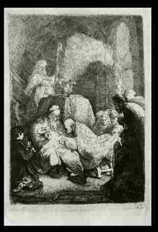 REMBRANDT 1880 Etching 'The Circumcision' B.48 AMAND