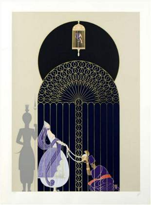 """Erte, """"Bird in a Gilded Cage"""" Serigraph signed &"""