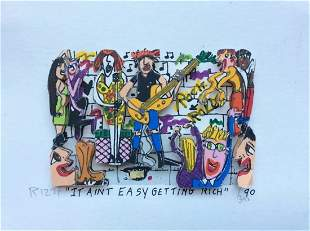 """James Rizzi """"It ain't easy getting rich"""" Mixed Media 3D"""