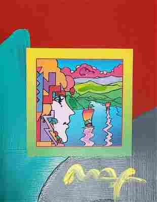 "Peter Max, ""Geometric Sailboat"" original mixed media"