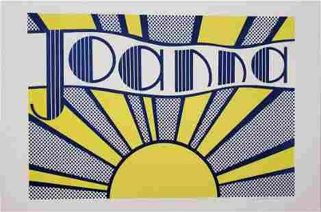 """Roy Lichtenstein """"Joanna, 1968"""" Hand signed offset"""