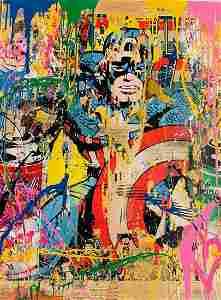 Mr. Brainwash, CAPTAIN AMERICA Original 1/1 Mixed Media