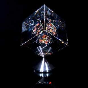 "Jon Kuhn, ""Marble Sky - 2020"" Original 1/1 Glass Cube"