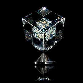 "Jon Kuhn, ""Memory Echo - 2020"" Original Art Glass Cube"