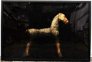"Todd Murphy, ""Straw Horse"" Mixed media monotype, framed"