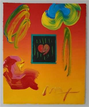"""Peter Max, """"Heart"""" original mixed media"""