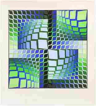 VICTOR VASARELY, THEZ, Screen Print, Signed & numbered