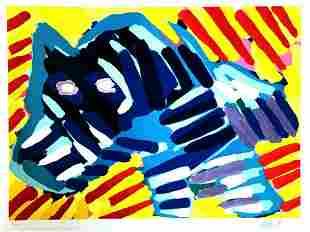 Karel Appel 1980 Bull Dog , Lithograph Signed/Numbered