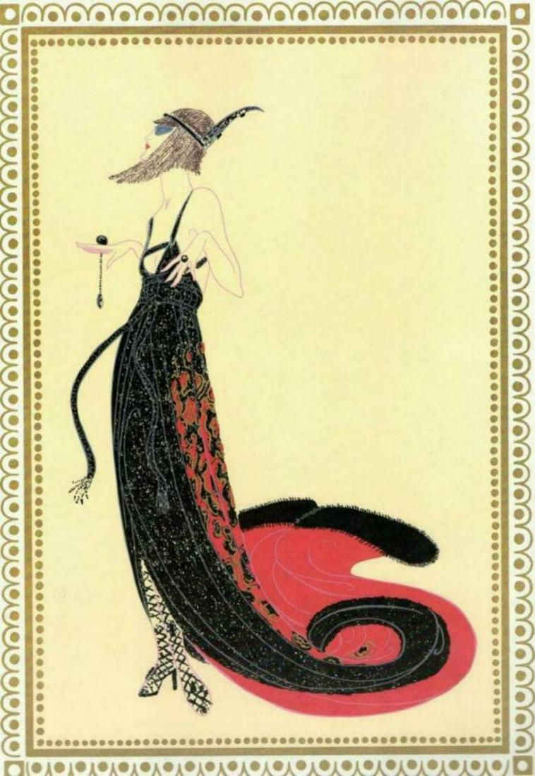 "Erte, ""Scheherazade Black Magic"" 1918 Gouhace on paper"