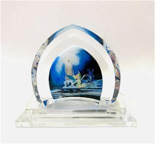 """Disney Fine Art Glass, """"Tinkerbell"""" hand painted art"""