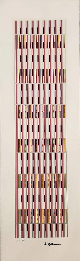 YAACOV AGAM, VERTICAL ORCHESTRATION Violet/White