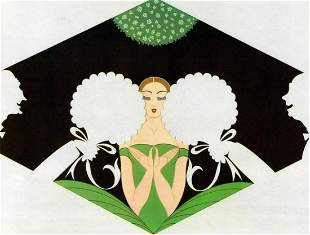 """Erte, """"The Suitors"""" Serigraph signed & numbered, COA"""
