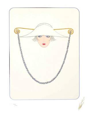 """Erte """"Hat and Chain"""" Serigraph, Signed & numbered"""
