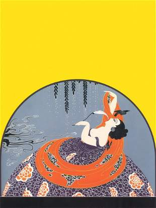 """Erte, """"After the Rain"""" Serigraph signed & numbered, COA"""