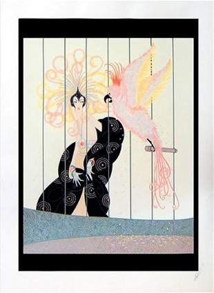 """Erte, """"The Bird Cage"""" Serigraph signed & numbered, COA"""
