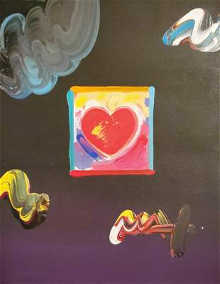 "Peter Max, ""Heart"" original mixed media with Acrylic"