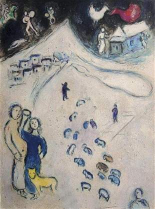 Marc Chagall, Daphnis and Chloe - Winter, Lithograph