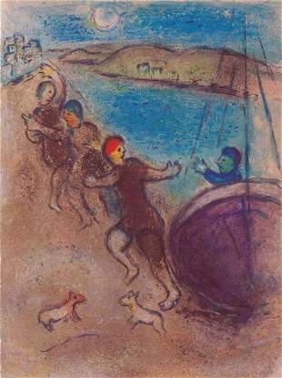 Marc Chagall, The Young Men of Methymne, Lithograph