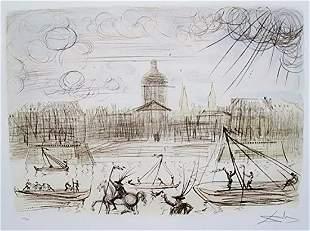 """Salvador Dali """"Academy of France"""" Faxm signed/No. litho"""