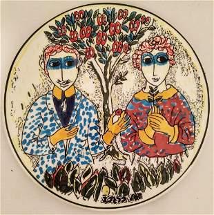 "Yosl Bergner, ""Marriage"", oil on porcelain"
