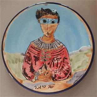 Yosl Bergner, Girl with a branch, oil on porcelain
