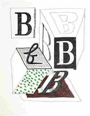 David Hockney - Letter B - Framed Lithograph