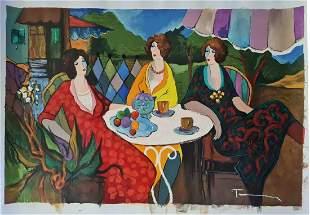 Itzchak Tarkay, Original Mix media with oil on canvas