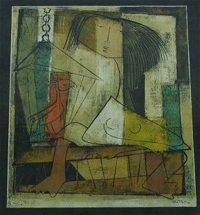 Angel Botello, Girl & A Bird In A Cage, Linocut, S/N