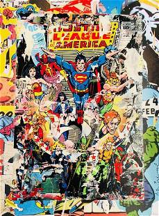 "Mr. Brainwash ""The Heroes"" Original 1/1 Mixed Media COA"