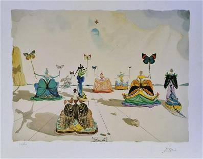 Salvador dali (After), Woman with a butterfly,