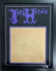 Jimi Hendrix Handwritten Lyrics RARE FRAMED Display