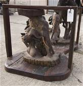 WOODEN ELEPHANT AND CAPE BUFFALO TABLE W/GLASS TOP