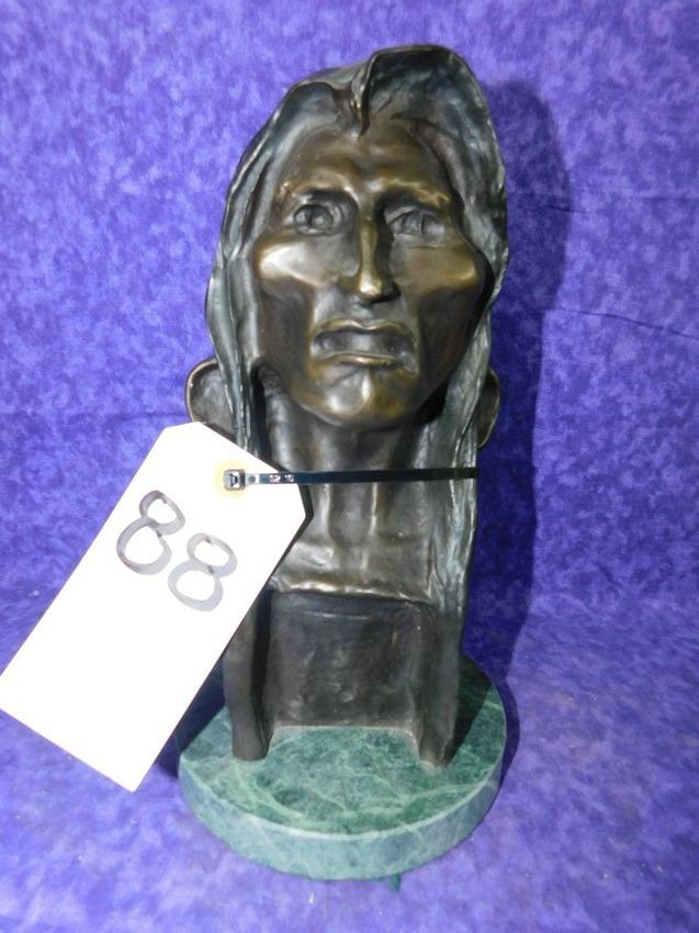 NATIVE AMERICAN BUST BRONZE by FREDERICK REMINGTON 1908