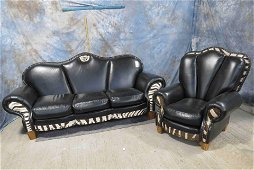 ZEBRA HIDE COUCH & CHAIR (2x$)