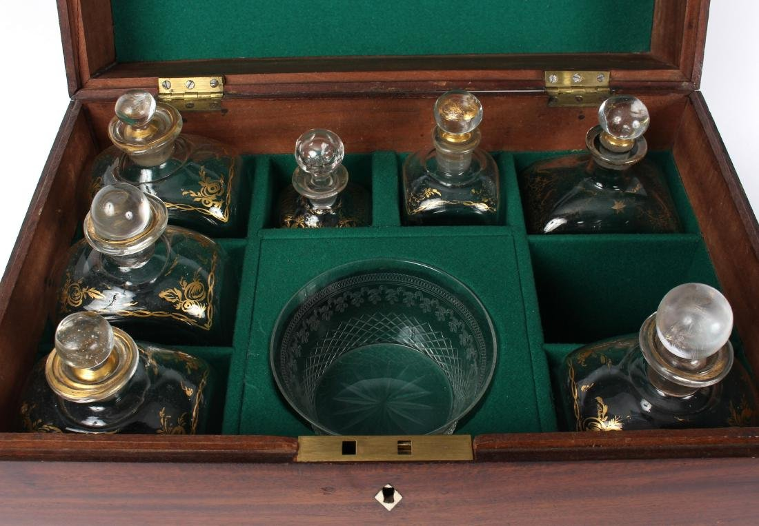 A mid 19th Century mahogany decanter box, fitted seven - 2