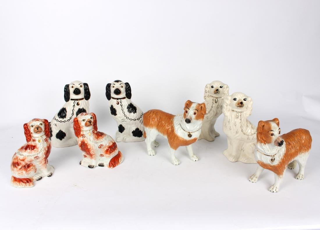 Four pairs of Staffordshire dogs, one pair modelled