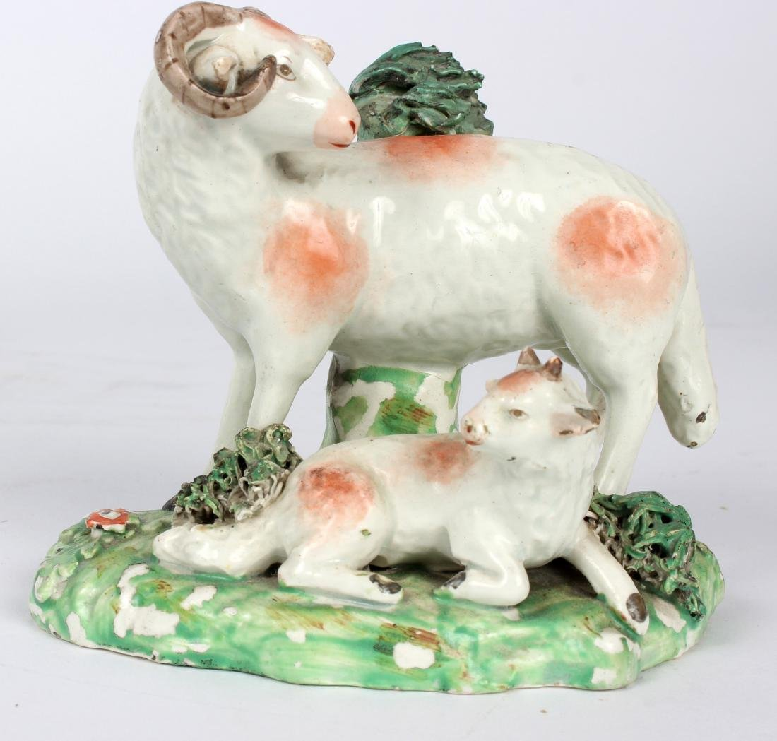 Two Derby models of recumbent sheep, two models of - 2