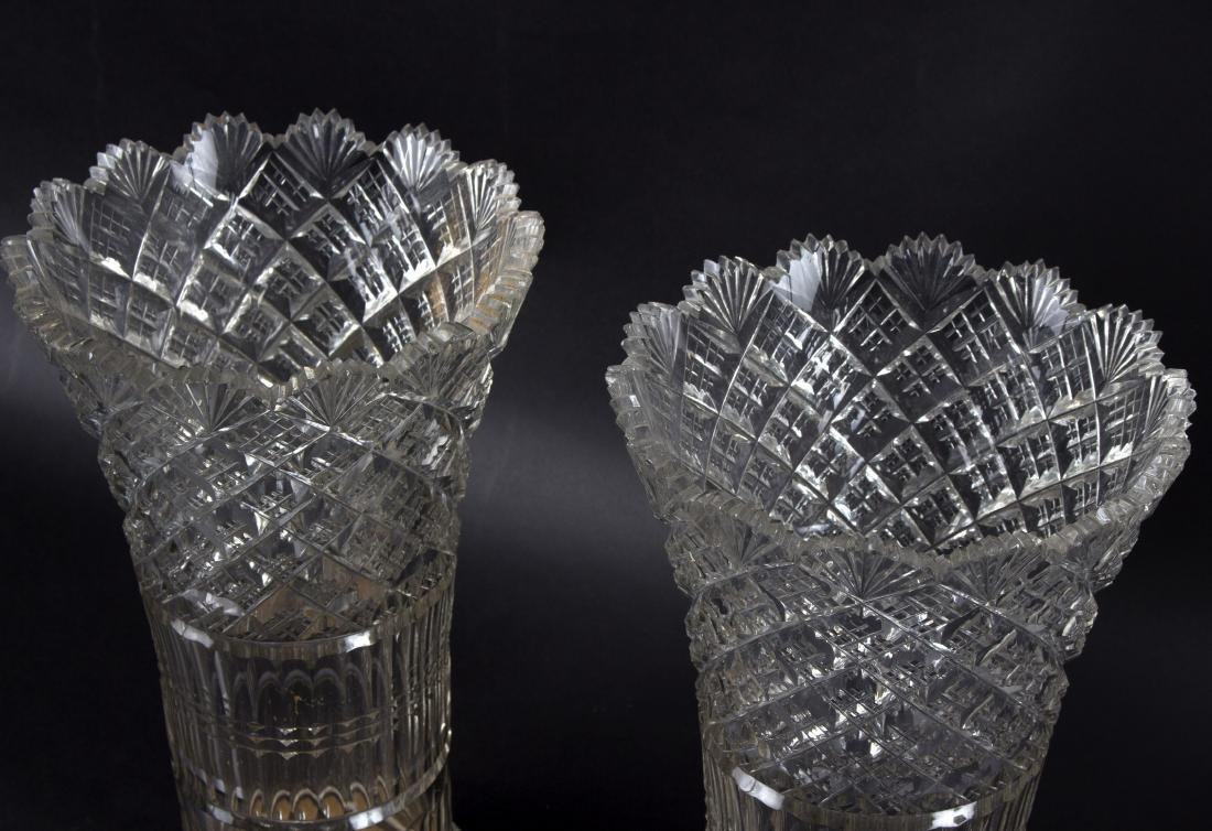 A large pair of cut glass vases, 20th Century, of
