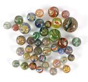 A quantity of glass marbles