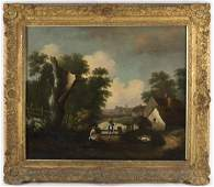Late 18th Century English School/Pastoral Scene/oil on