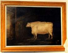 19th Century Naive English School/Shorthorn Cow in a