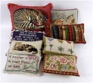 Eight modern needlework cushions, three depicting cats