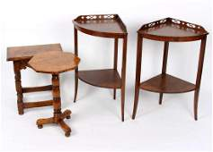 A pair of two-tier tables with pierced backs, 53cm