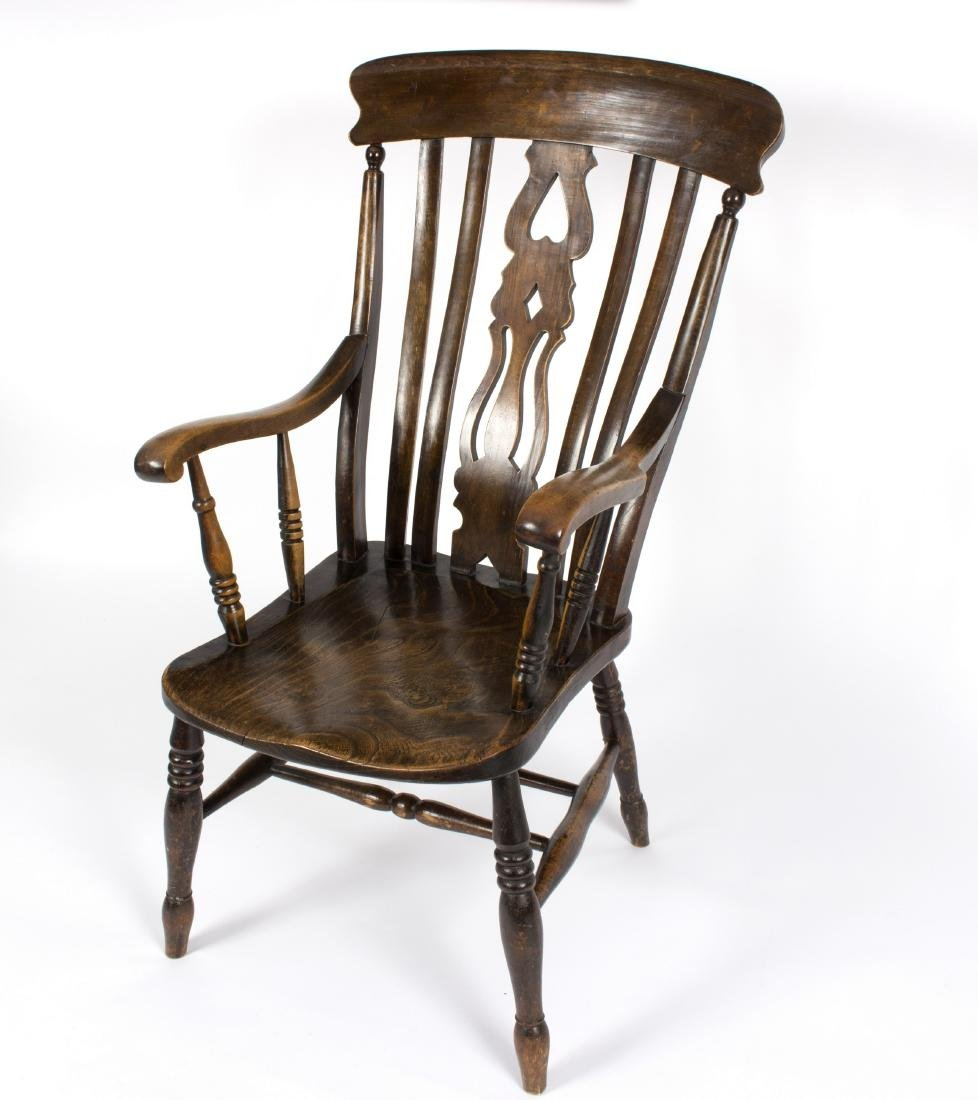 A Windsor splat-back open armchair